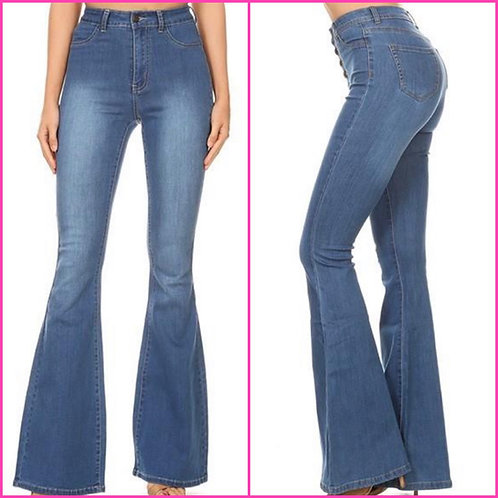 "Medium Denim Bell Bottom Jeans - 34"" Inseam - 9067"