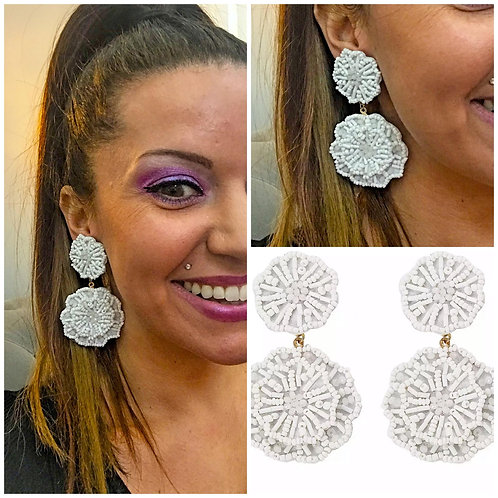 Seed Bead Double Flower Earrings- White -2067