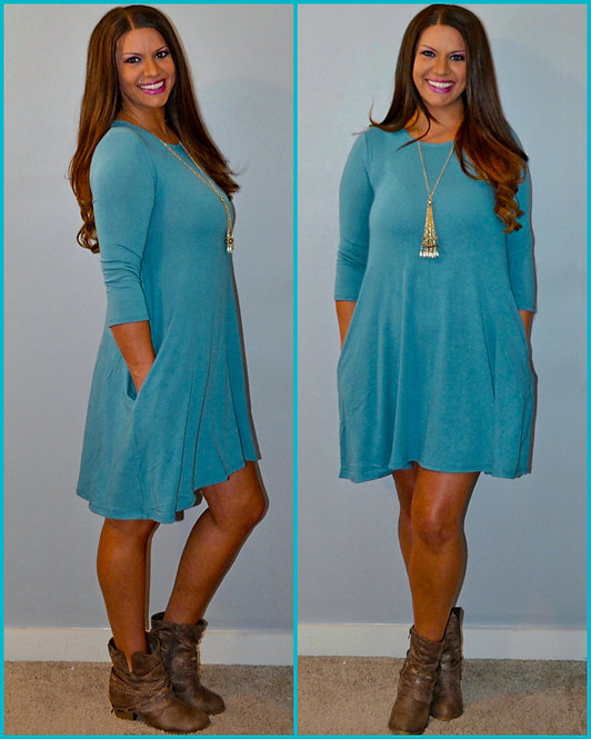 Fall Dress with Pockets - Dusty Teal -7017