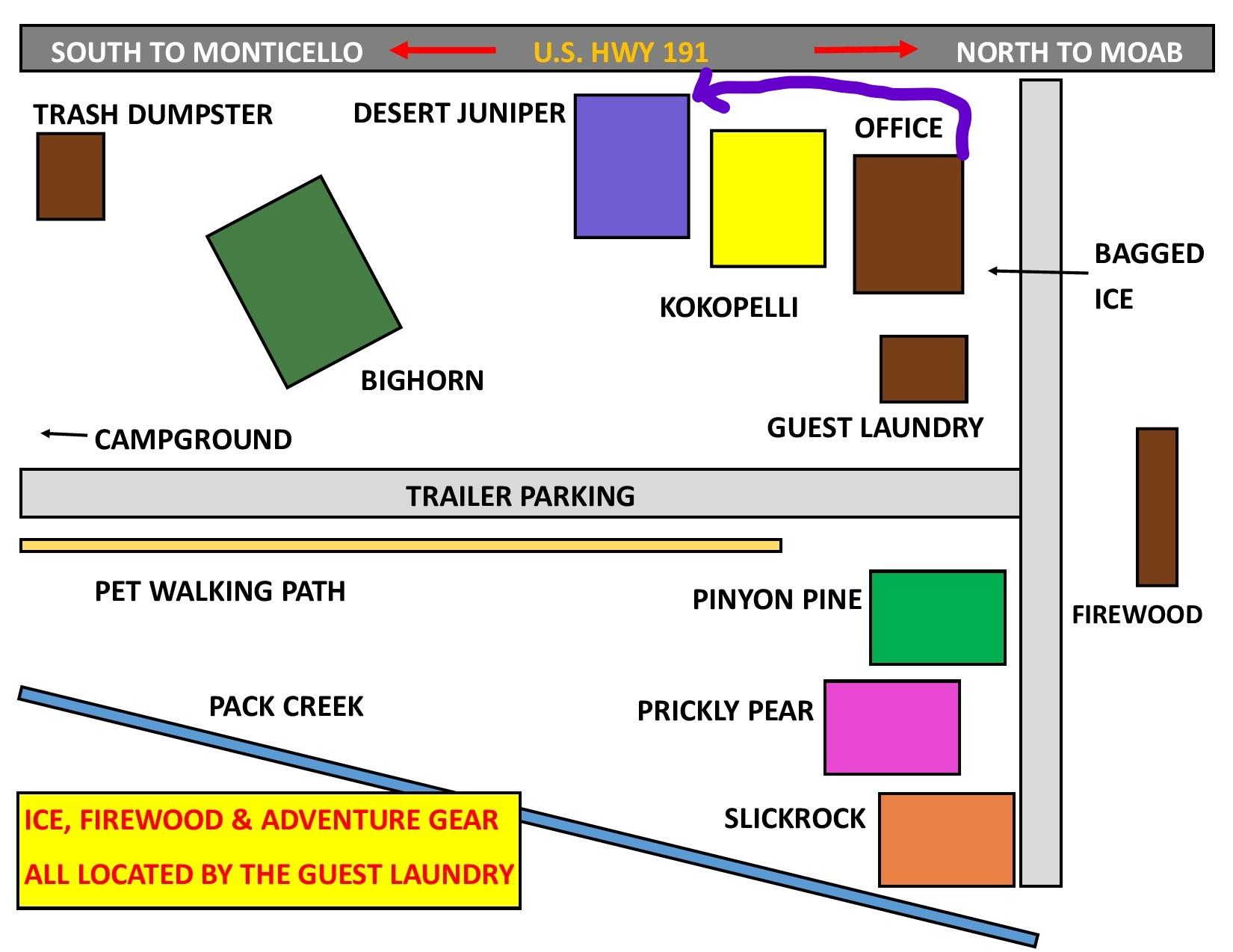 map to Desert Juniper Adobe Cabin on property