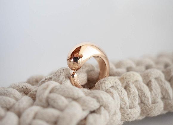 Anel Aberto Vírgula G - Banho de ouro champanhe 18k