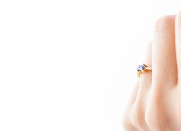 Anel Tanzanita, ouro amarelo e diamantes