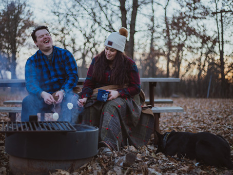 Afton State Park Camping Themed Engagement Session - T&A #adventurouscouple
