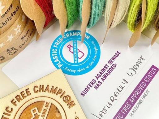 Naturally Wrapt awarded Plastic Free Champion Award!