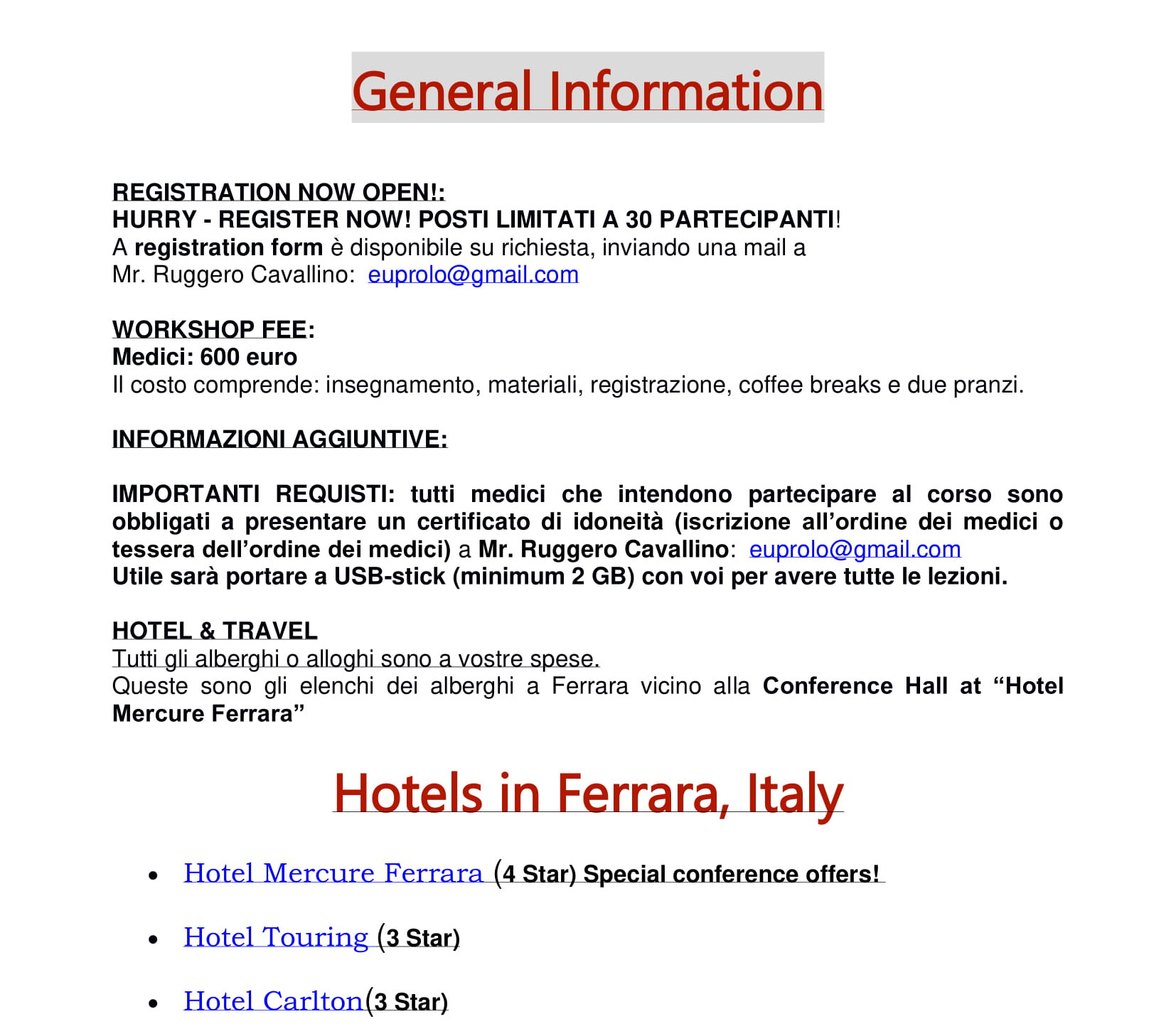 Corsi Prolo Italiano 2020 (Info Generale