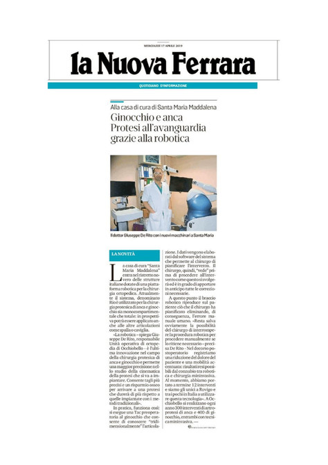 La nuova Ferrara 16/04/2019 - Ginocchio e anca - Protesi all'avanguardia grazie alla robotica
