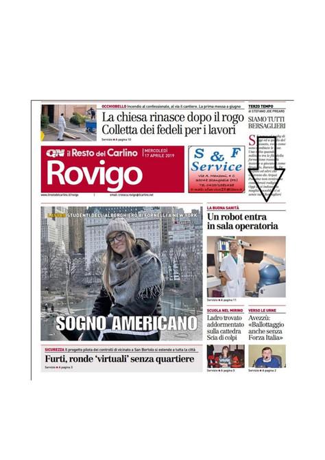 Il Resto del Carlino Rovigo - 16/04/2019 - Il braccio di un robot in sala operatoria
