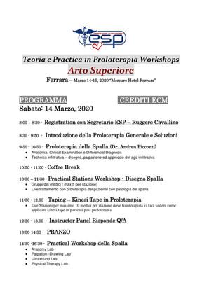 EUROPEAN SCHOOL OF PROLOTHERAPY - ESP - CORSI IN ITALIANO CON CREDITI ECM