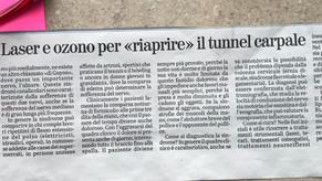 """La Verità 25/11/2018 - Laser e ozono per """"riaprire"""" il tunnel carpale"""