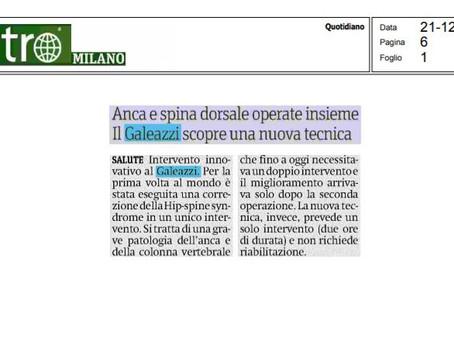 """Metro Milano - 21/12/2020Anca e Spina Dorsale operate insieme"""" Il Galeazzi scopre una nuova tecnica"""
