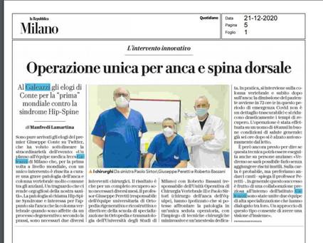 La Repubblica - 21/12/2020Operazione unica per anca e spina dorsale