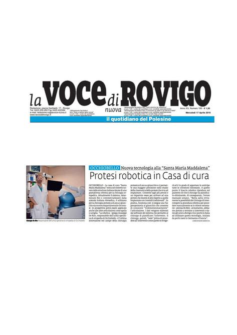 La Voce di Rovigo - 16/04/2019 - Protesi Robotica in Casa di Cura