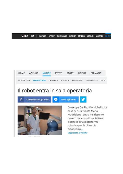 Virgilio.it 16/04/2019 - Il robot entra in sala operatoria