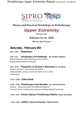 THE FIRST PROLOTHERAPY COURSE OF 2020 - FERRARA 8+9/02/2020 - UPPER EXTREMITY