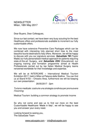 NewsLetter 18th May 2017