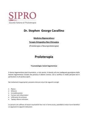 Traumatologia: lesioni legamentose - Dr. Stephen George Cavallino