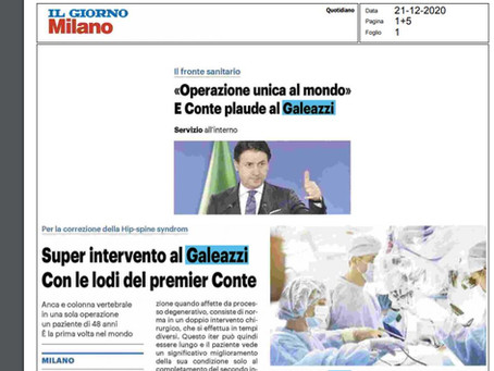 """Il Giorno - 21/12/2020""""Operazione unica al mondo e COnte applaude al Galeazzi"""""""