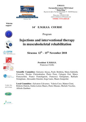 Injections and interventional therapy in musculoskeletal rehabilitation - Siracusa 12/15 Novembre 20
