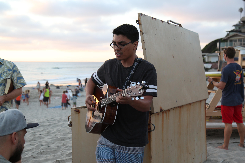 Pastor Nate leading worship.