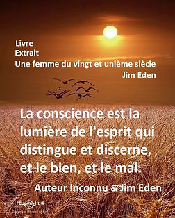 La conscience est la lumière de l'esprit qui distingue et discerne, et le bien, et le mal. Jim Eden Les Écritures du Cœur https://www.lesecrituresducoeur.com/citation
