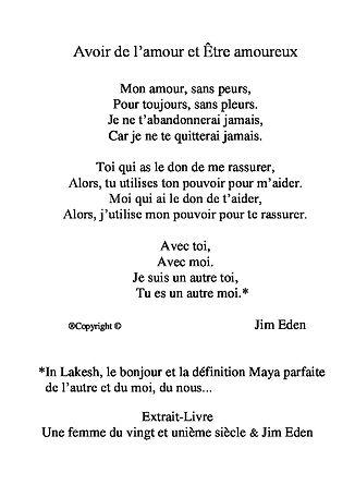 Poème Avoir de l'amour et Être amoureux Poème Jim Eden Les Écritures du Cœur https://www.lesecrituresducoeur.com/poesie