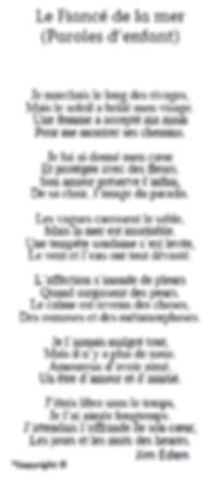 Poème Le Fiancé de la mer (Paroles d'enfant) Jim Eden Les Écritures du Cœur https://www.lesecrituresducoeur.com/poesie