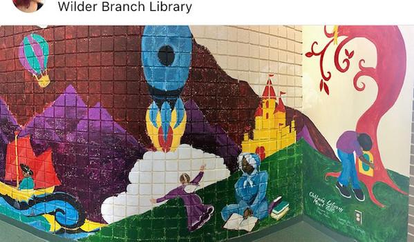 Children's Literature Mural at Detroit Public Library Wilder Branch