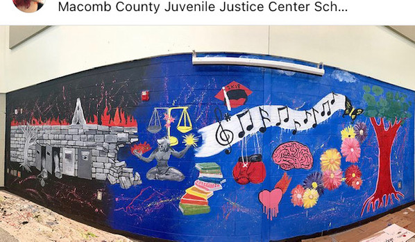 Youth-Designed and painted Mural at the Macomb Juvenile Justice Center
