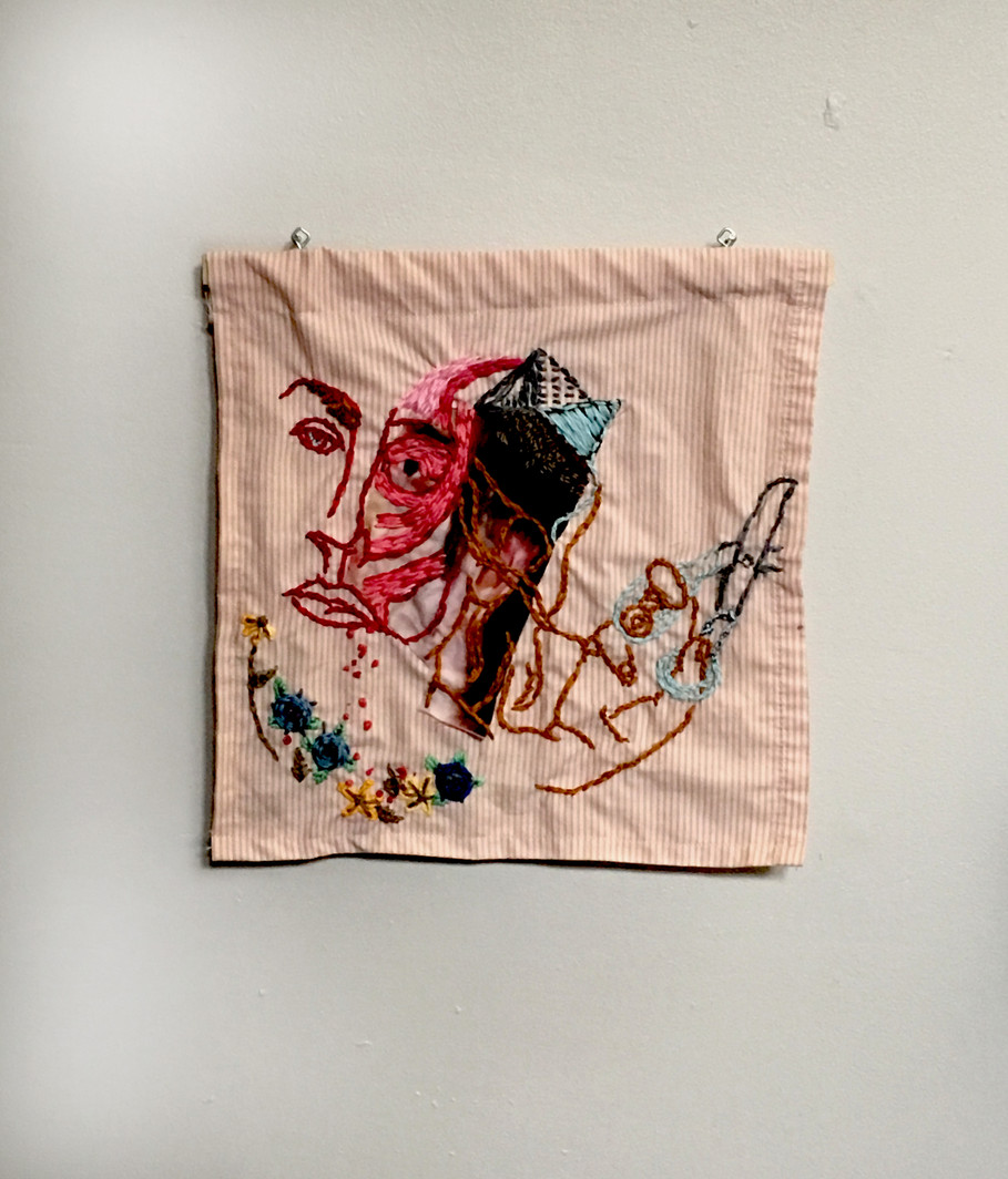 Exquisite corpse embroidery
