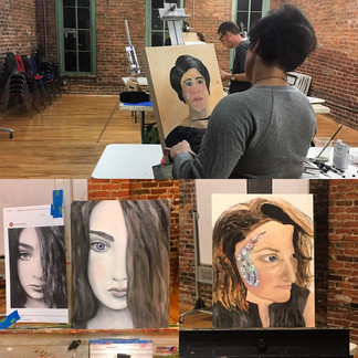 Adult's Intro to  Portrait Painting Class Student Work