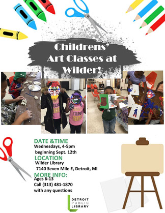 Flyer for 2018/19 youth art classes at Wilder Branch Library