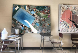 Collaborative Mixed-media Painting with Mount Clemens Public HS Students