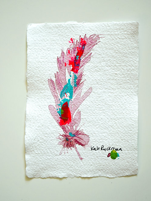 "A/ Pink Quartz Feather 5x7"""