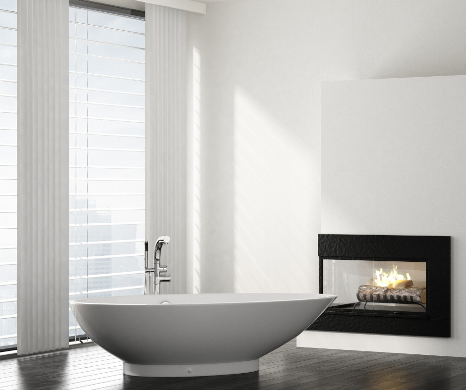 Bathtub with a fireplace