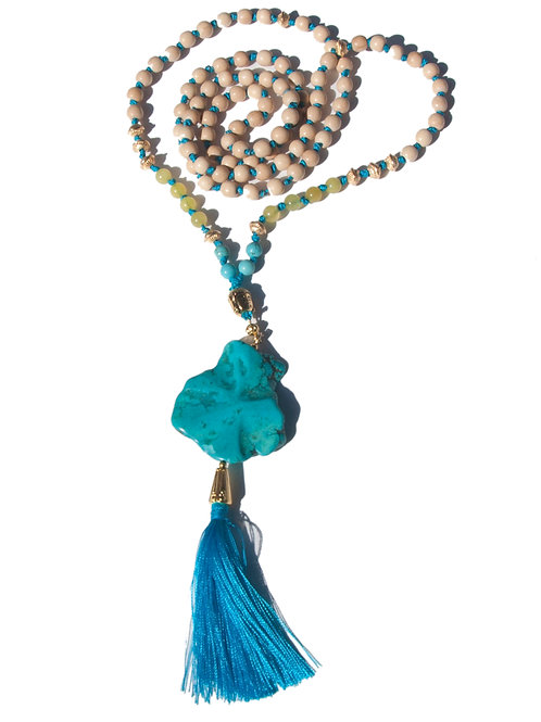 Collier Mala serpentine, howlite turquoise