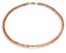 Collier pierres semi-précieuses, cube, pierre de lune, orange, lapilly bijoux
