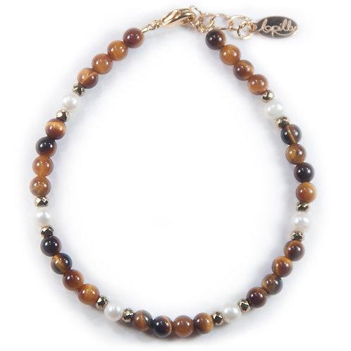 Bracelet œil de tigre, hématite facettée, perle de culture