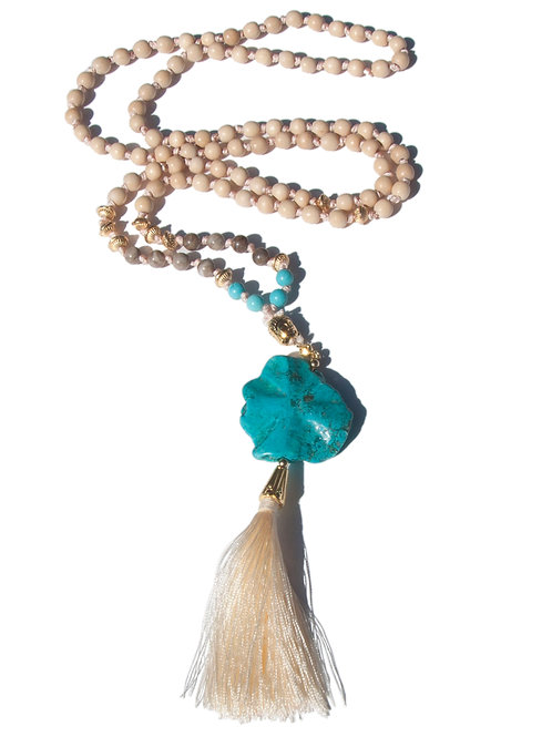 Collier Mala bois fossilisé, howlite turquoise