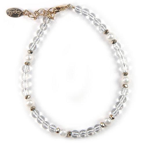 Bracelet cristal de roche, hématite facettée, perle de culture