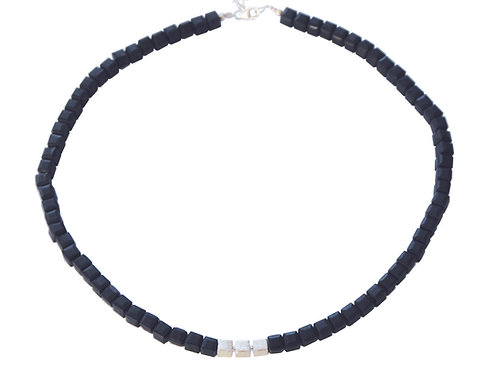 Collier petit cube obsidienne