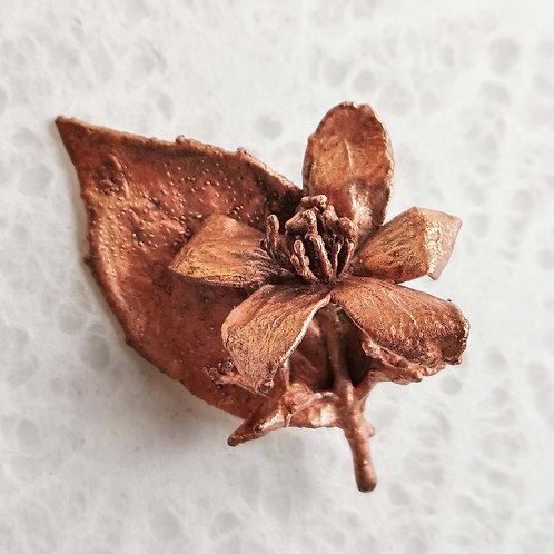 Fleur de seringat et feuille    broche