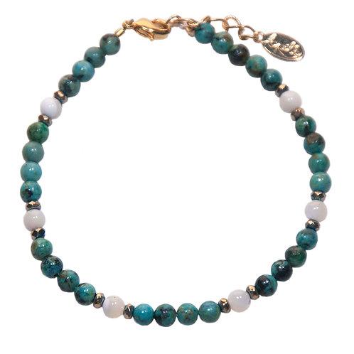 Bracelet turquoise, nacre, hématite facettée