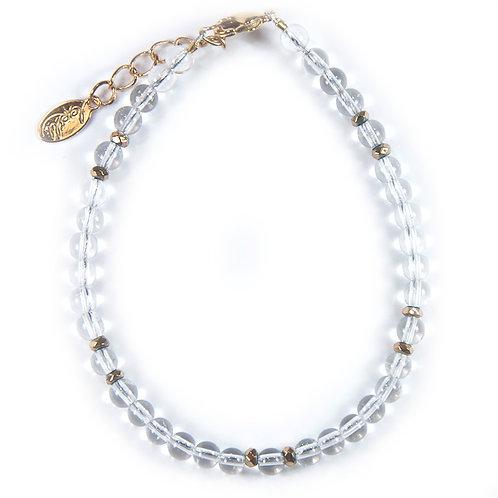 Bracelet cristal de roche, hématite facettée