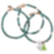 Bracelet turquoise, hématite, pierres semi-précieuses, perle de culture, pompon, bijoux Lapilly