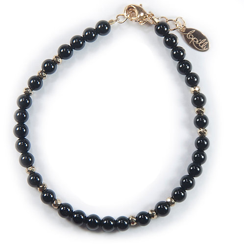 Bracelet agate noire, hématite facettée