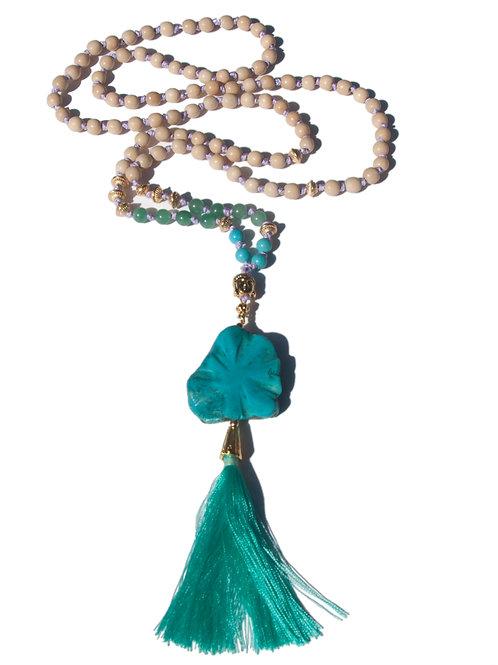 Collier Mala aventurine, howlite turquoise
