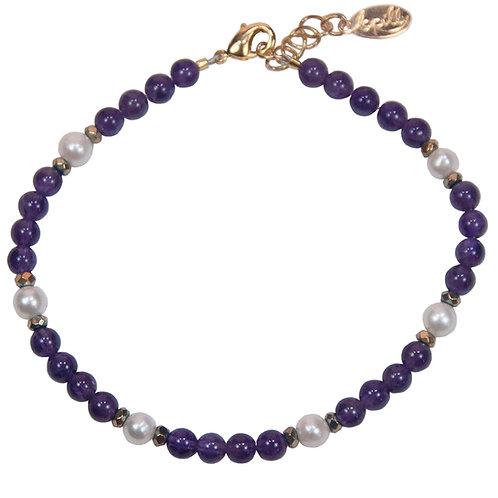 Bracelet améthyste, hématite facettée, perle de culture