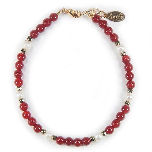 Bracelet cornaline, hématite facettée, perle de culture