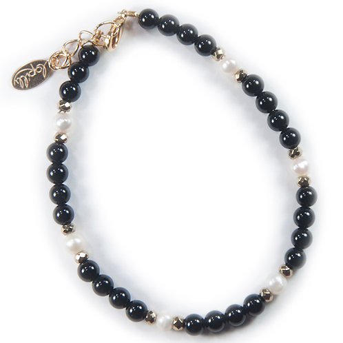 Bracelet agate noire, hématite facettée, perle de culture