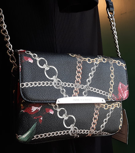 Black Chain Print Crossbody Bag